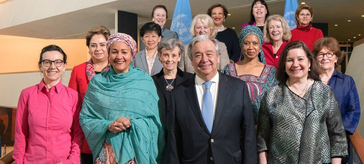 Secretary-General António Guterres (2nd right, front) with women who comprise part of his leadership team of which has achieved gender balance within the Senior Management Group.