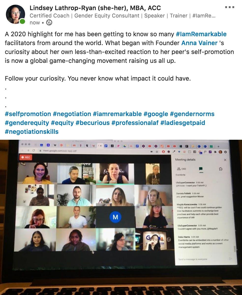 Lindsey Lathrop LinkedIn post