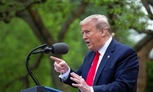 El presidente de EEUU, Donald Trump, este martes en una comparecencia. | EFE