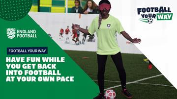 A young footballer on the campaign poster for Football Your Way