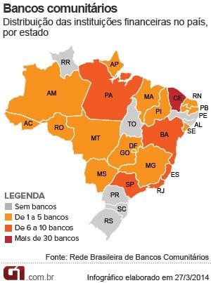 Distribuição geográfica dos bancos comunitários (Foto: Editoria de Arte/G1)