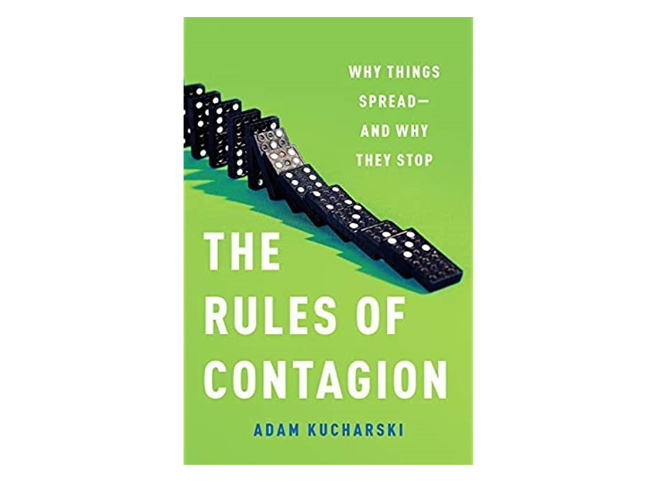 """Image of """"The Rules of Contagion"""" book cover. Green with dominos falling."""