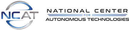 National Center for Autonomous Technologies (NCAT) logo. Features the acronym in a circle to the left, and the full spelled out name divided by a horizontal line to the right.
