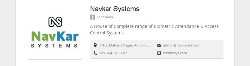 Navkar Systems<br /> Facebook<br /> A House of Complete range of Biometric Attendance &amp; Access Control Systems...