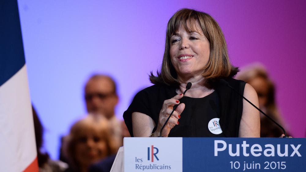 La maire Les Républicains de Puteaux (Hauts-de-Seine), Joëlle Ceccaldi-Raynaud, lors d'un meeting de son parti dans sa ville, le 10 juin 2015.