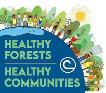 """Stewardship week logo with the words """"healthy forests, healthy communities"""" over artwork of people, trees and wildlife."""
