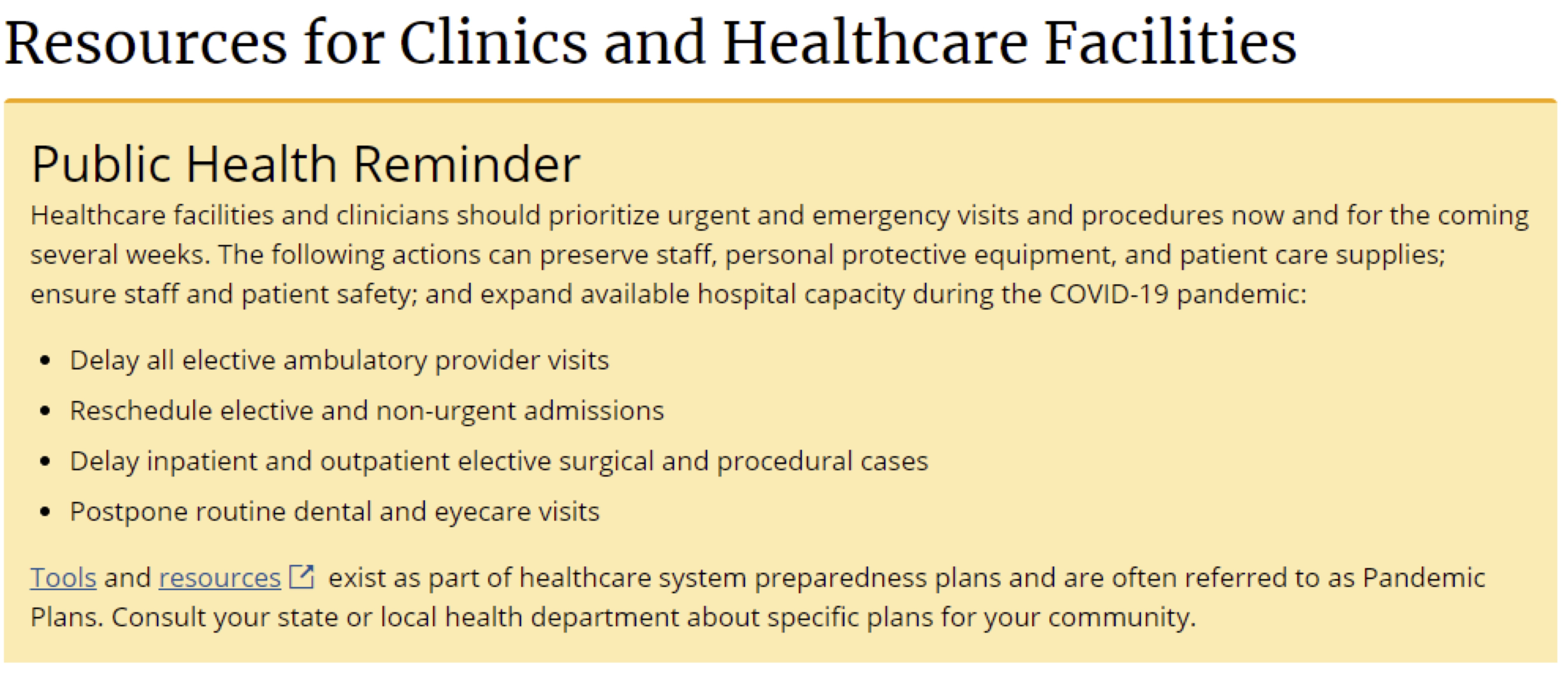 CDC Resources for Clinics and Healthcare Facilities