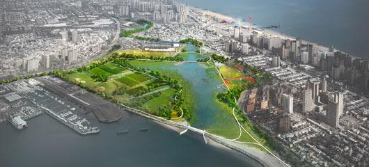 Coney Island Creek Tidal Barrera y Humedales Estudio de Viabilidad