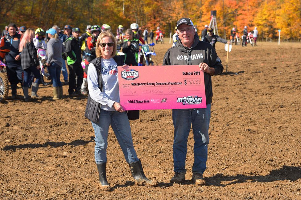 GNCC Racing along with Yamaha and HBD MotoGrafx, donated $5,000 to the Montgomery County Community Foundation.