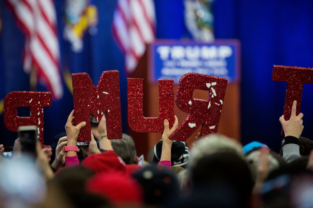 Supporters waited for Donald J. Trump before the start of a campaign rally on Long Island in New York on Wednesday.