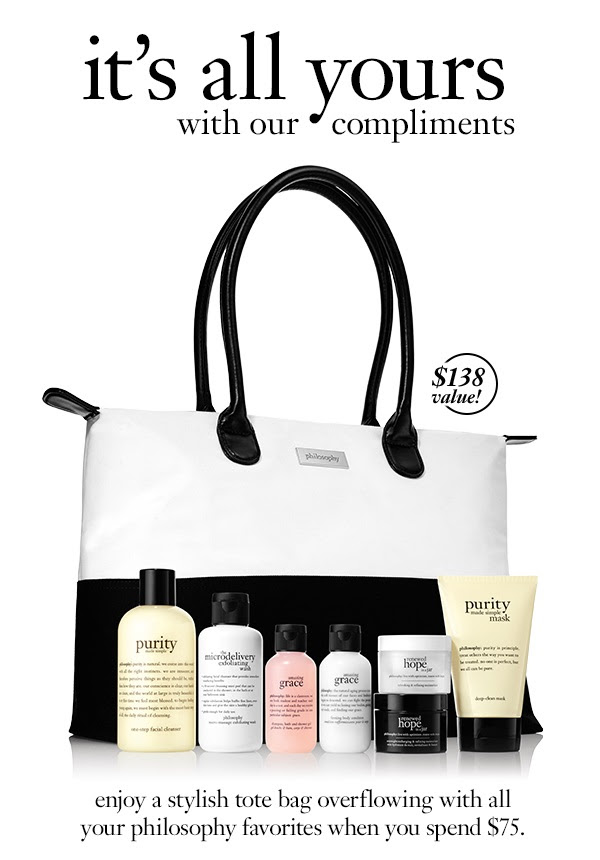 Receive a free 8-piece bonus gift with your $75 philosophy purchase