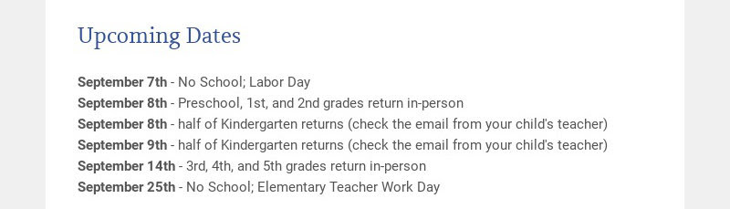 Upcoming Dates