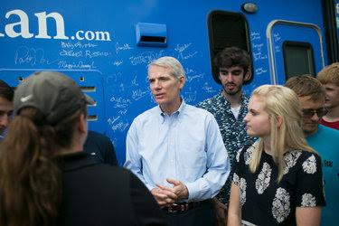Senator Rob Portman of Ohio campaigning in Dayton in July.