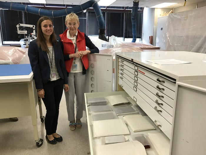 Mary Ballard and intern Regina Baglia in the Textiles Lab
