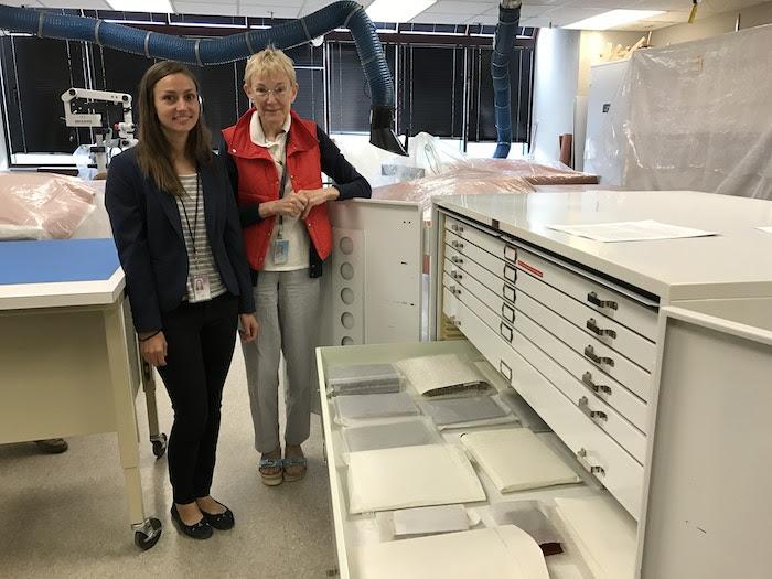 Mary Ballard and intern Regina Baglia in the Textiles Lab