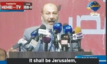 Spiritual leader Muslim Brotherhood declaring to destroy Israel and take Jerusalem