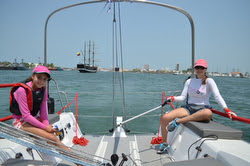 J/88 family speedster- enjoys a daysail with women and girls