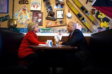 Hillary Clinton with Senator Cory Booker of New Jersey in January in Iowa. Mr. Booker is among a number of ambitious Democrats jockeying to become Mrs. Clinton's running mate.