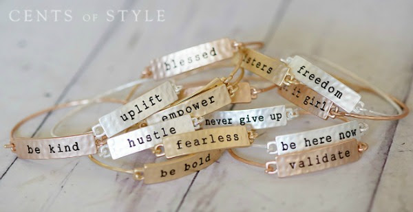 positive sayings bracelets