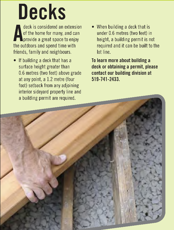 Deck extension bylaw with contact information at City of Kitchener 519-741-2433