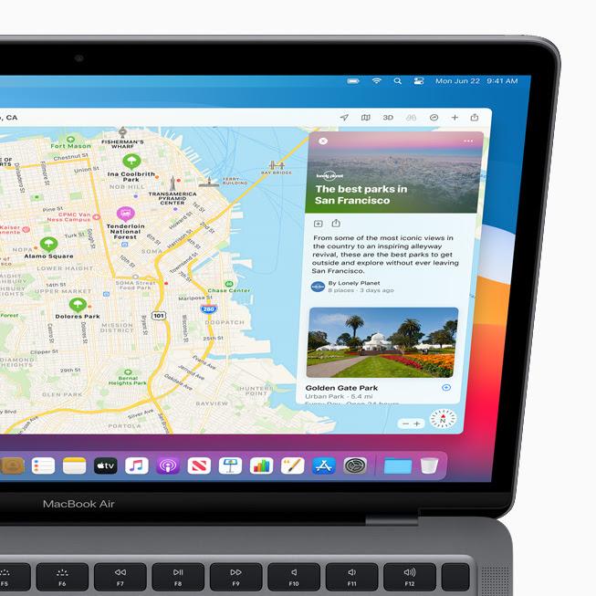 顯示在 MacBook Pro 上「地圖」中的全新「導覽指南」功能。