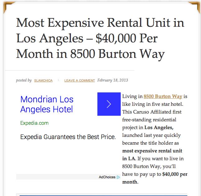 $40,000 a month at 8500 Burton Way