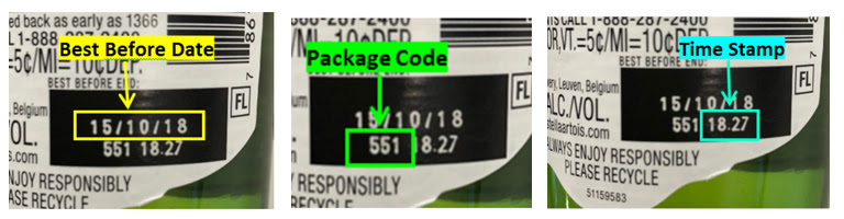 Example Production Code (Best Before Date, Package Code, Time Stamp)