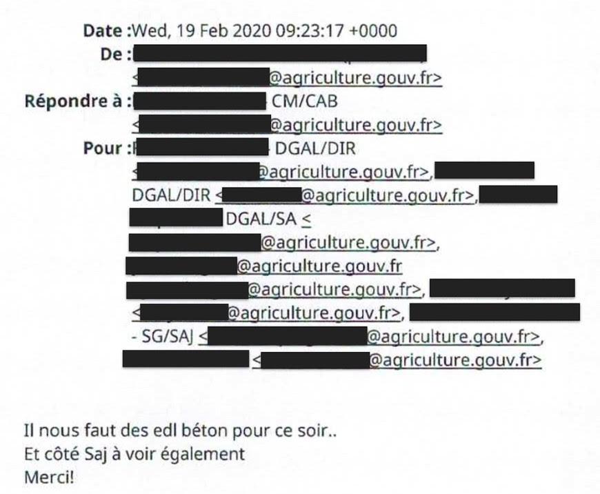 Capture d'écran d'un mail interne des services de l'État