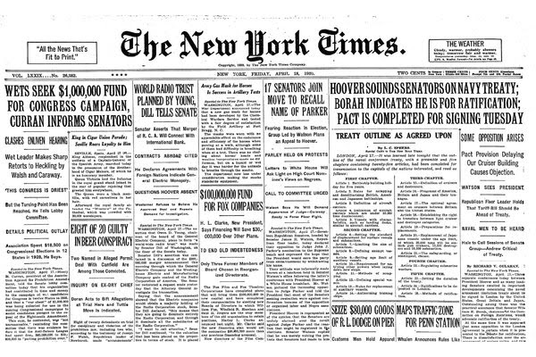 The BBC may have had no news on April 18, 1930, but The New York Times did.