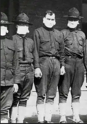 Doughboys wearing flu masks