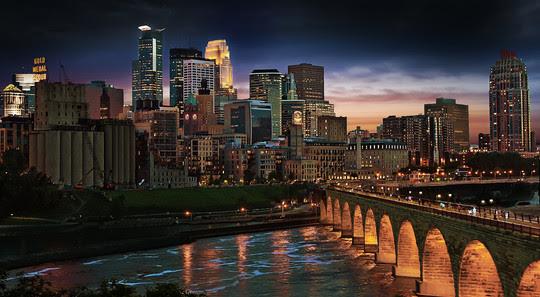 Downtown Minneapolis and the Stone Arch Bridge