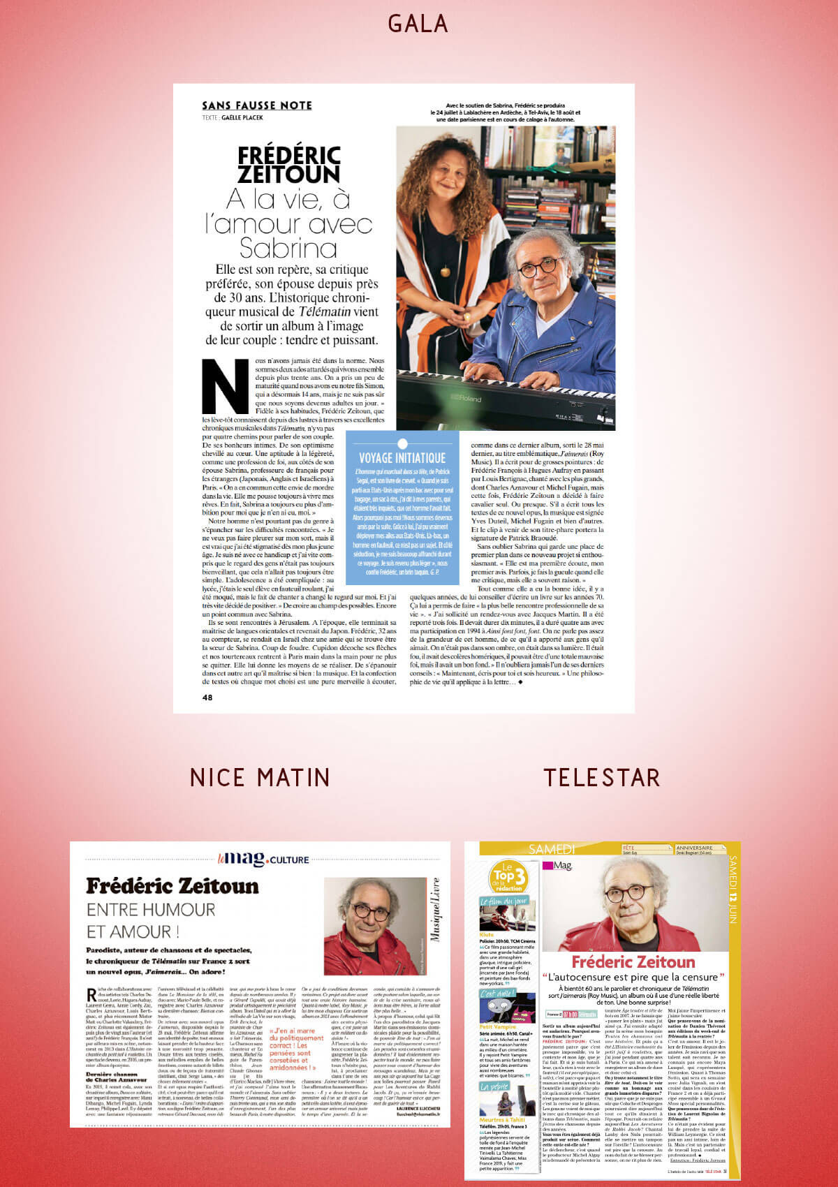 Articles dans Gala, Nice Matin et Telestar