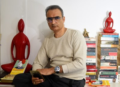 """Author-journalist Anshul Chaturvedi with his book book """"The Vivekananda Handbook For Everyday Living"""""""
