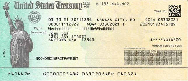 Sample U.S. Treasury check