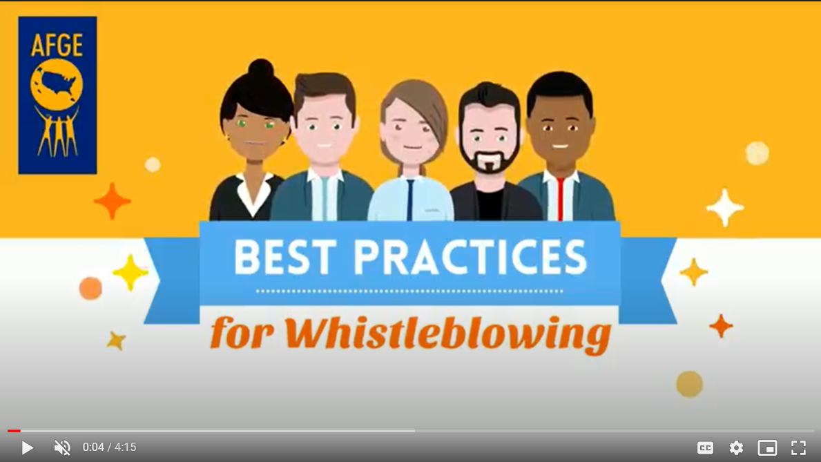 Screenshot of video that includes 5 animated characters and the headline best practices for whistleblowing