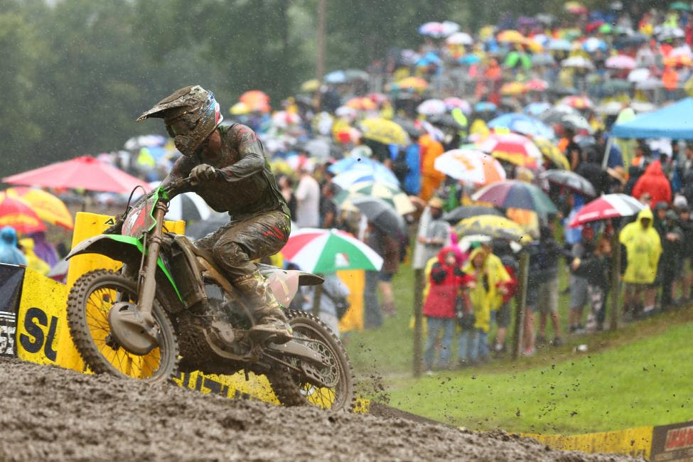 Eli Tomac did damage control in the muddy conditions and tied Musquin on points to finish second overall (1-2).