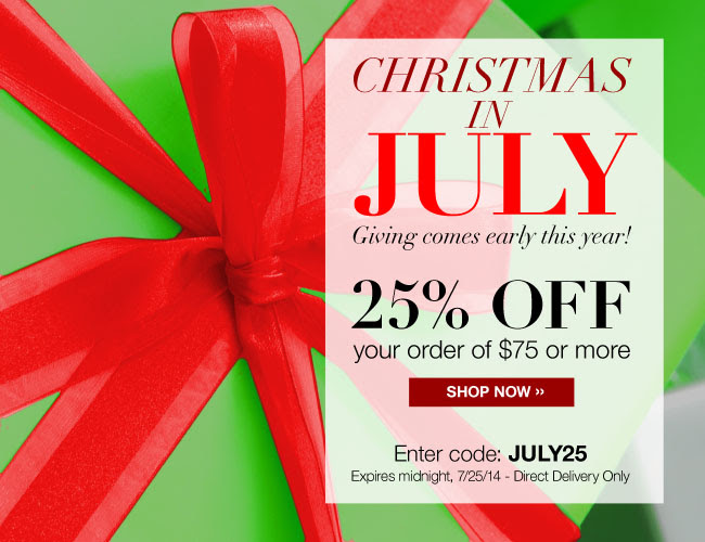CHRISTMAS IN JULY - 25% OFF your order of $75 or more