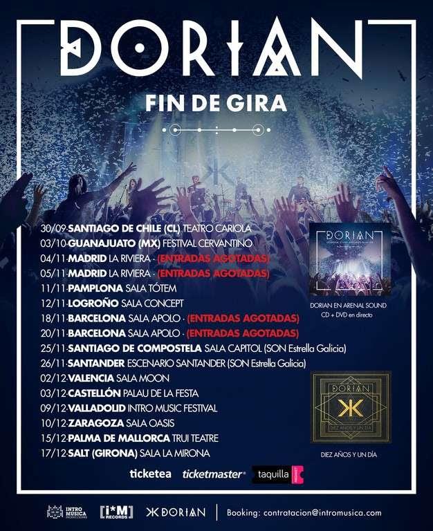 Dorian, Fin de gira 2016