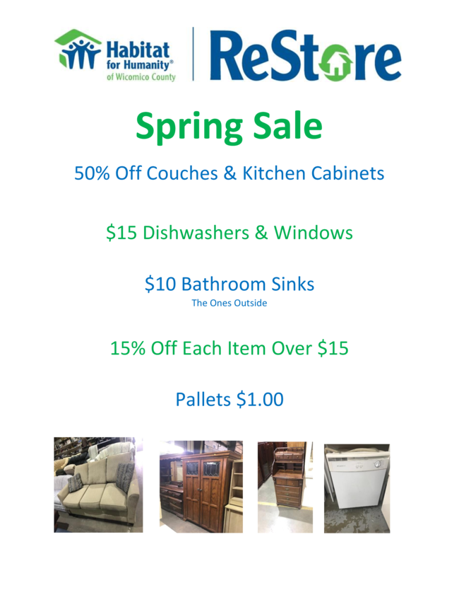 Habitat For Humanity Of Wicomico County ReStore Spring Sale