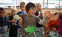 A young boy dancing
