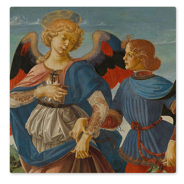 Detail from the Workshop of Andrea del Verrocchio, 'Tobias and the Angel', about 1470-5 © The National Gallery, London