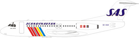 IFF28SK0720 | InFlight200 1:200 | Fokker F-28-4000 Fellowship SAS SE-DGO (with stand) | is due: July 2020