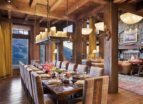 Rustic Dining Room Interior Decor Plaid