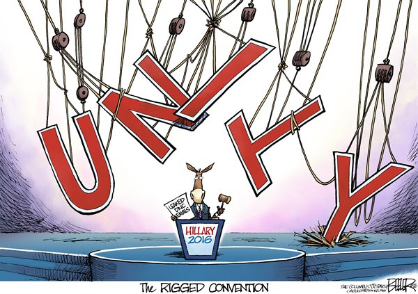 Unity for Hillary, Nate Beeler,The Columbus Dispatch,democratic, convention, rigged, unity, donkey, hillary clinton, 2016, philadelphia, leaked, email, dnc, rigging, politics, president, presidential, election, nomination, nominee, candidate