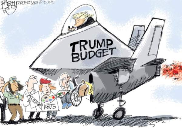 trump budget sucking into war