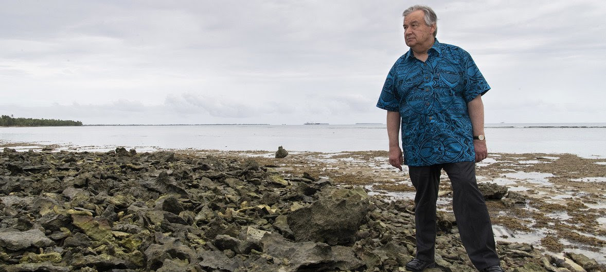 The UN Secretary-General António Guterres visited the low-lying island of Tuvalu in May 2019 to see how Pacific Ocean nations would be effected by the rise in sea levels.