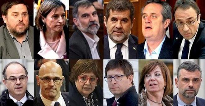 Montaje con los rostros de los líderes independentistas del 1-O y presos del 'procès'. / EUROPA PRESS