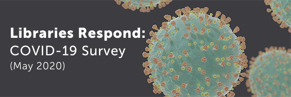 COVID-19 virus cells. Text: LIBRARIES RESPOND: COVID-19 Survey (May 2020)
