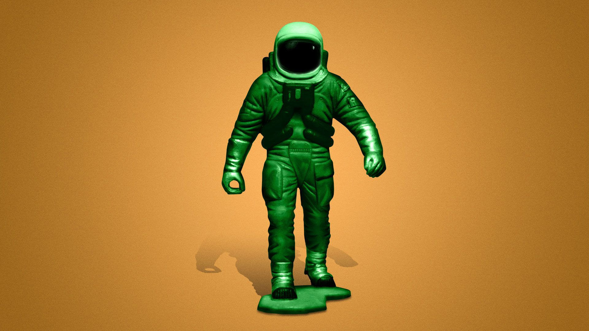 Illustration of an astronaut as a plastic army toy