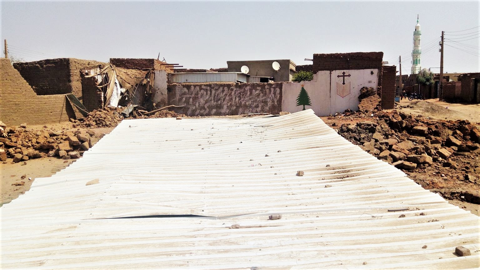 The downed Evangelical Church in Al Haj Yousif, North Khartoum, Sudan. (Morning Star News)